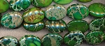 Green Sea Sediment Jasper Beads, 25x18mm Oval Beads, Strand