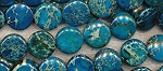 Turquoise Sea Sediment Jasper Beads 20mm Coin Beads Strand