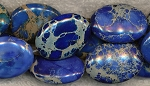 Dark Blue Sea Sediment Jasper Beads, 25x18mm Oval Beads, Strand