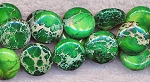 Green Sea Sediment Jasper Beads, 14mm Coin Beads, Strand