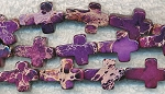 Purple Sea Sediment Jasper Cross Beads 16x12mm Strand