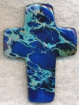 Blue Sea Sediment Jasper Large Cross Pendant 60x45mm