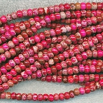 Fuchsia Sea Sediment Jasper Beads, 6mm Rondelle Beads, Strand