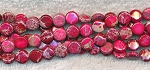 Fuchsia Sea Sediment Jasper Beads, 8mm Coin Beads, Strand
