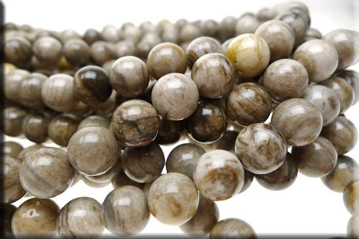Silver Leaf Jasper Beads Round 10mm