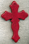 Gemstone Cross Pendant, 75x50mm Extra-Large Gothic Red Magnesite Cross Pendant