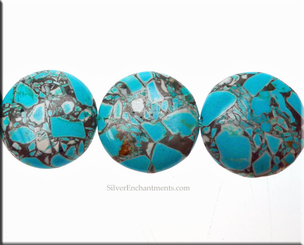 Mosaic Turquoise Beads 20mm Coin Bead
