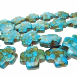 Turquoise Cross Beads, Mosaic Turquoise Gemstone Cross Beads, 20mm (10)