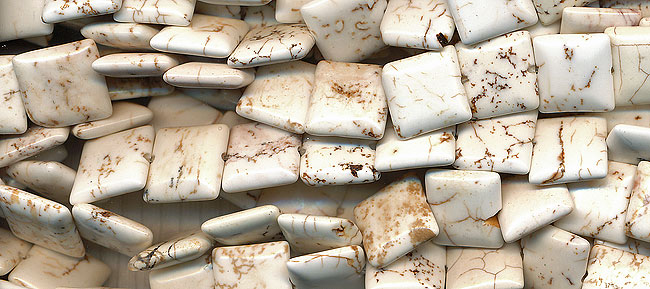 White Magnesite 12mm Square Chicklet Pillow Beads