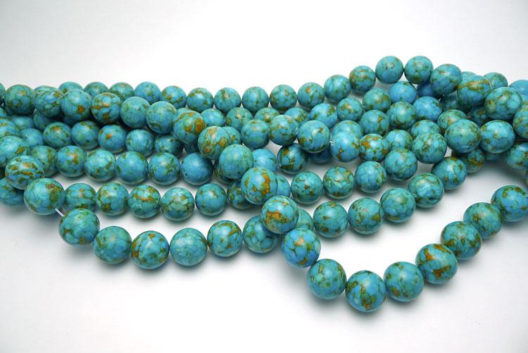Mosaic Turquoise 16mm Round Beads