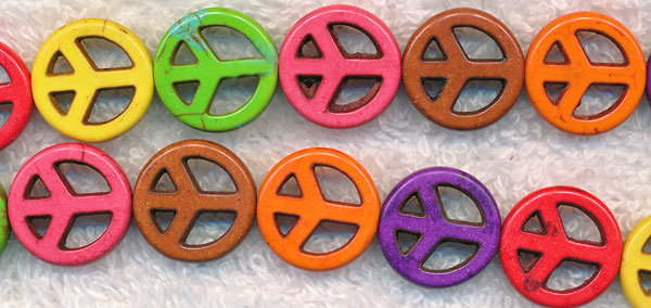 15mm Stone Peace Sign Beads Multicolor Mixed