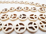 Peace Sign Beads, White Magnesite Small 15mm