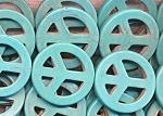 Turquoise Peace Sign, 35mm Magnesite Focal Peace Pendant Beads