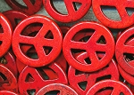 Peace Sign Beads, 35mm Red Magnesite Focal Pendants