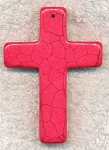 Fuschia Pink Magnesite Cross Pendant, Gemstone Cross Pendants (1) 55x40mm