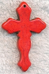 Red Turquoise Magnesite Cross Pendant, Gemstone Cross Pendants (1) 45x28mm Gothic Cross