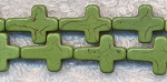 Moss Green Magnesite Cross Beads 16x12mm