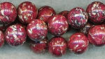 Maroon Mosaic Turquoise Beads, 13mm Round Gemstone Beads