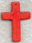Gemstone Cross Pendants, Red Magnesite Cross Pendant, 55x40mm (1)