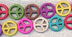 Peace Sign Beads, 25mm Mix Color Assorted Magnesite