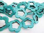 Turquoise Flower Beads, 32mm Magnesite