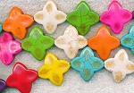 Multicolored Dimpled Stone Flower-Star Beads, 25mm