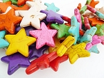 Stone Star Beads, 20mm Multicolor