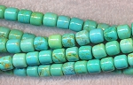 Turquoise Beads, 7mm Barrel Beads, Drum Beads, Turquoise Magnesite Gemstone Beads, Strand