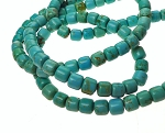 Turquoise Beads, 7mm Barrel Beads, Turquoise Magnesite Drum Beads, Full Strand