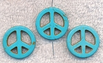 Turquoise Beads, Peace Sign 25mm (4)