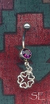 Sterling Silver Hearts Pentacle Belly Ring, Navel Ring, Pierced Body Jewelry