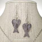 Folded Angel Wings Earrings, Silver Angel Jewelry