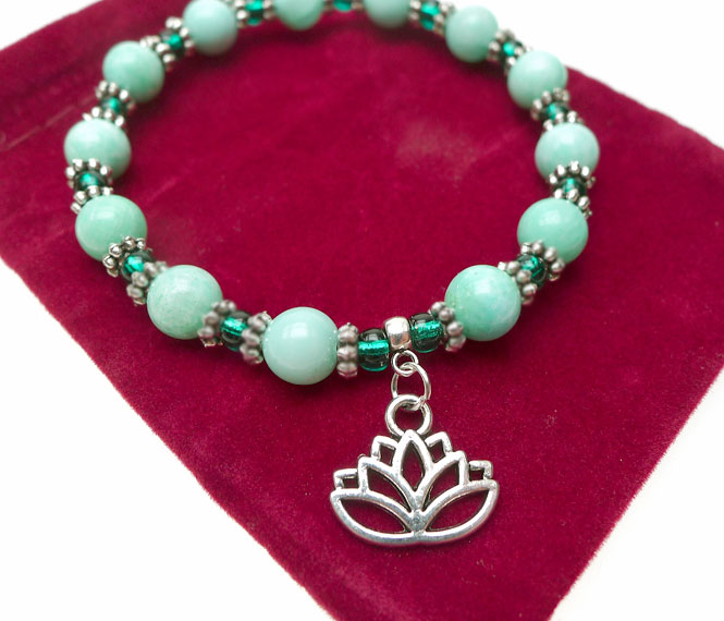 Lotus Bracelet Beaded Lotus Flower Gemstone Jewelry
