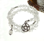 Crystal Bracelet with Pentacle, Pentagram Wrap Bracelet with Clear Quartz Crystal, Pagan Jewelry, Crystal Wrap Gemstone Pentacle Bracelet
