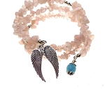 Rose Quartz and Angelite Bracelet with Angel Wings, Angel Wrap Bracelet with Quartz and Angelite Crystal, Gemstone Angel Wings Bracelet