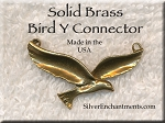 Solid Brass Bird Y Necklace Centerpiece, Raw Brass Bird Jewelry Finding