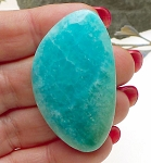 Blue Calcite Cabochon for Wire-Wrapping, Freeform Gemstone Cab, 49x29mm