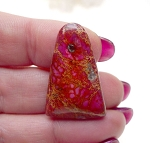 Pink Sea Sediment Jasper Cab, Cathedral Pyramid Gemstone Cabochon, 30x20mm