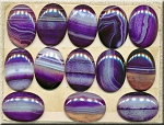 Agate Cab, 30x20mm Banded Purple Agate Cabochon (1)
