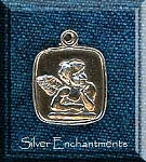 Sterling Silver Angel Medallion, Square Angel Jewelry