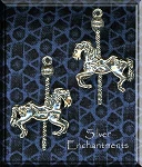 Sterling Silver Carousel Horse Pendant, 30mm Horse Necklace