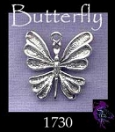 Sterling Silver Butterfly Charm, 20x22mm Elegant Butterfly Jewelry