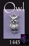 Sterling Silver Owl Charm, 15x8mm