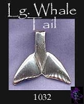 Sterling Silver Large Whale Tail Pendant or Necklace