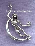 Crescent Moon Goddess Pendant, Sterling Silver Dancing Goddess Necklace Jewelry