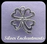 Sterling Silver 4-Leaf Clover of Hearts Charm-Pendant