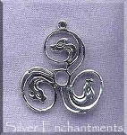 Sterling Silver Celtic Spiral Dragon Pendant Dragon Triskele Jewelry
