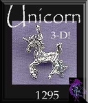 Sterling Silver Prancing Unicorn Pendant, Bailed 3D Unicorn Jewelry