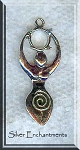 Sterling Silver Spiral Goddess Pendant with 8mm Gemstone Cab Area