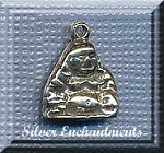 Sterling Silver Buddha Charm, Buddha Jewelry, Small 14x11mm